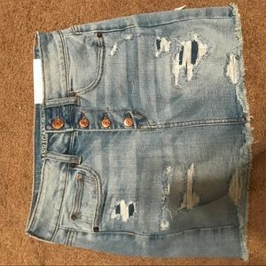 American eagle button up denim distressed skirt